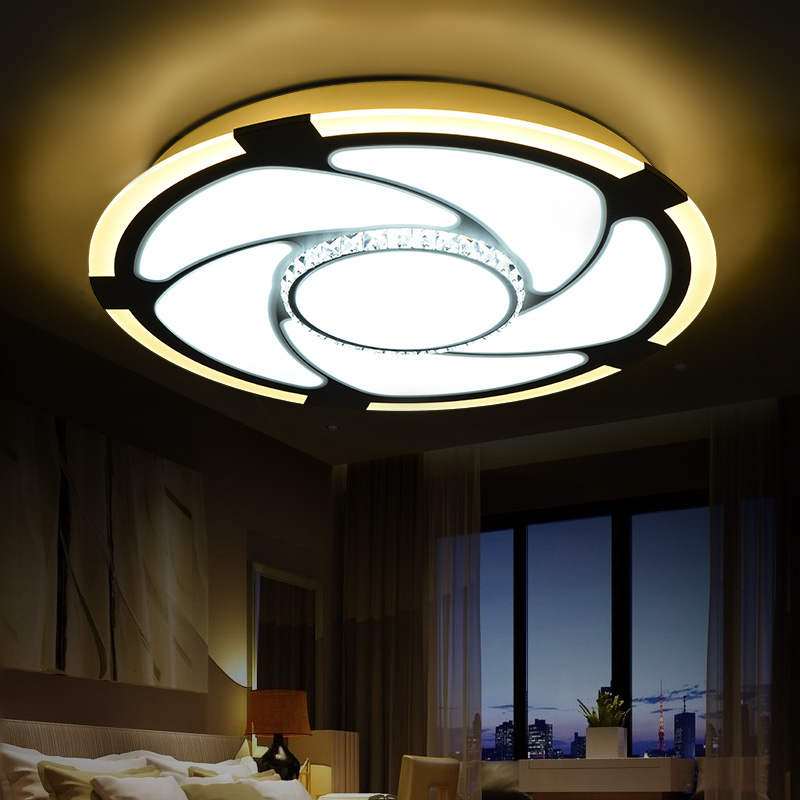 Modern led ceiling lights for living room AC85-265V Crystal Indoor Lighting Round Bedroom Lamp Foyer Lamps acrylic ceiling light 3 colors dimming led ceiling light 650x380mm living room lights modern brief bedroom ceiling lamps rectangle indoor lighting