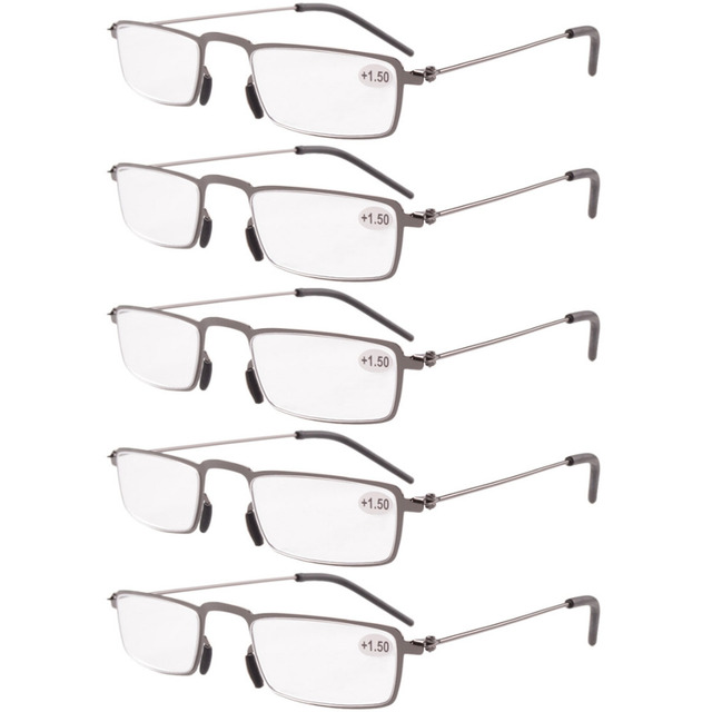 5a84214909d R12004 Eyekepepr 5-Pack Stainless Steel Frame Half-eye Style Reading  Glasses Readers +1.00---+4.00