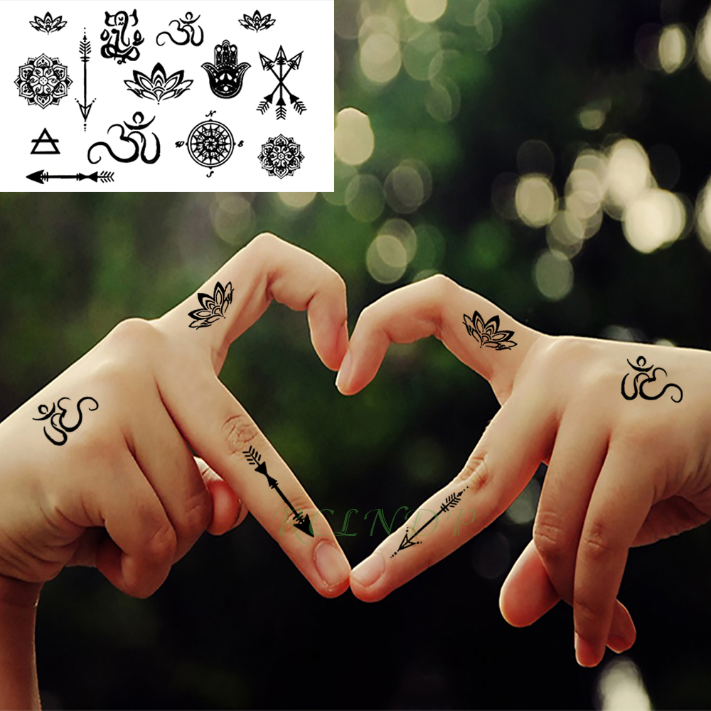 Waterproof Temporary Tattoo Stickers Tribal Totem Lotus Arrow Mandala Fake Tatto Flash Tatoo Neck Hand Back Foot For Girl Women