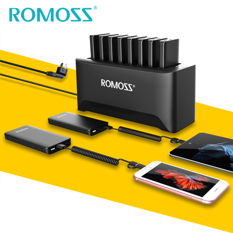 New ROMOSS Powerful Charger Station for Family and Business 8PCS 10000mAh Power Bank + 8PCS 2 in 1 Charging Cables + Ship by UPS-in Power Bank from Cellphones & Telecommunications    2