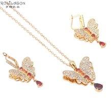 Mariposa de lujo diseño K chapado en oro Austria circón cristal Rojo Joyería Moda mujer Set Pendientes Colgantes Collar JS454