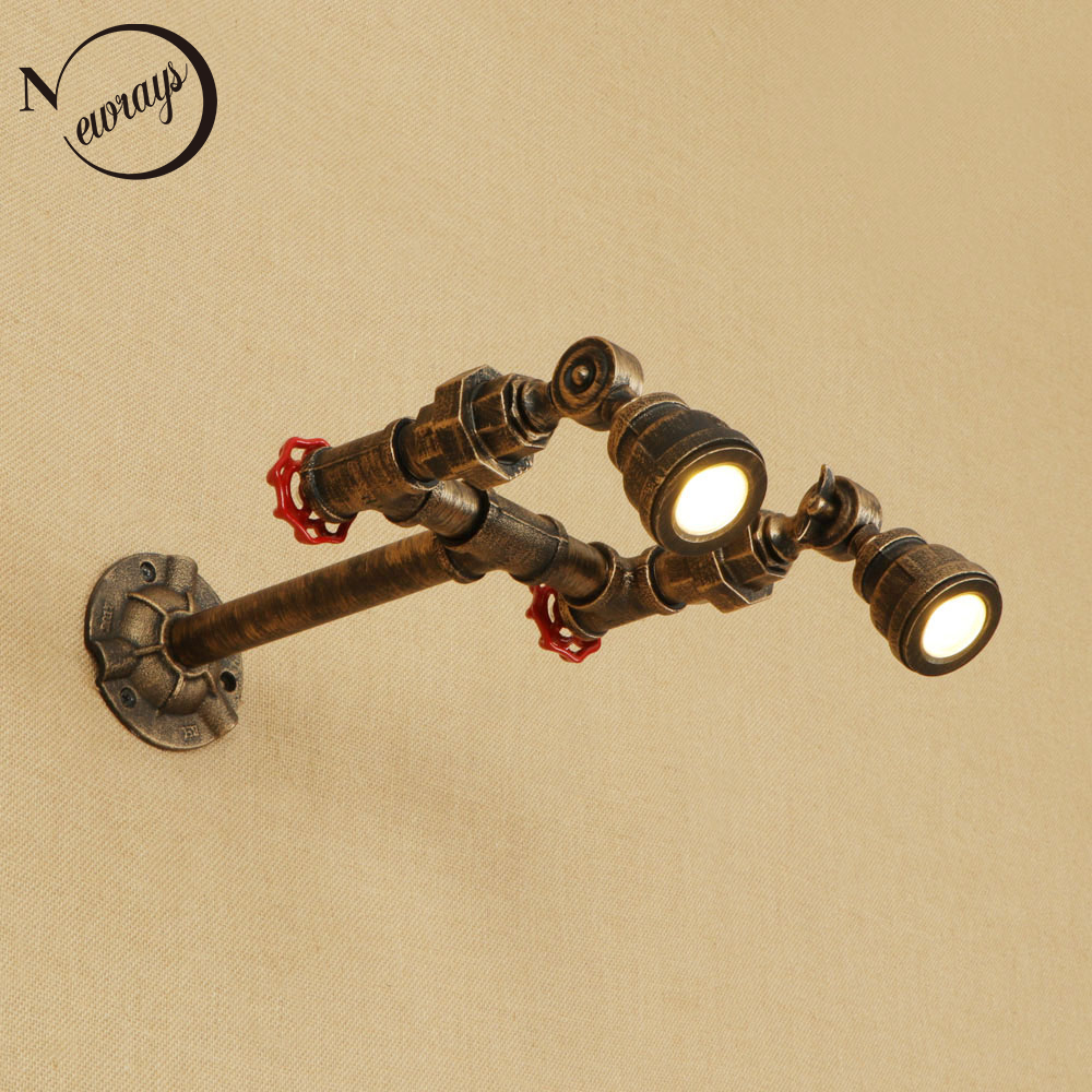 Art deco retro iron water pipe wall lamp vintage wall light LED with 6 styles for bedroom living room bathroom path cafe вытяжка со стеклом maunfeld cascada trio 60 белое стекло