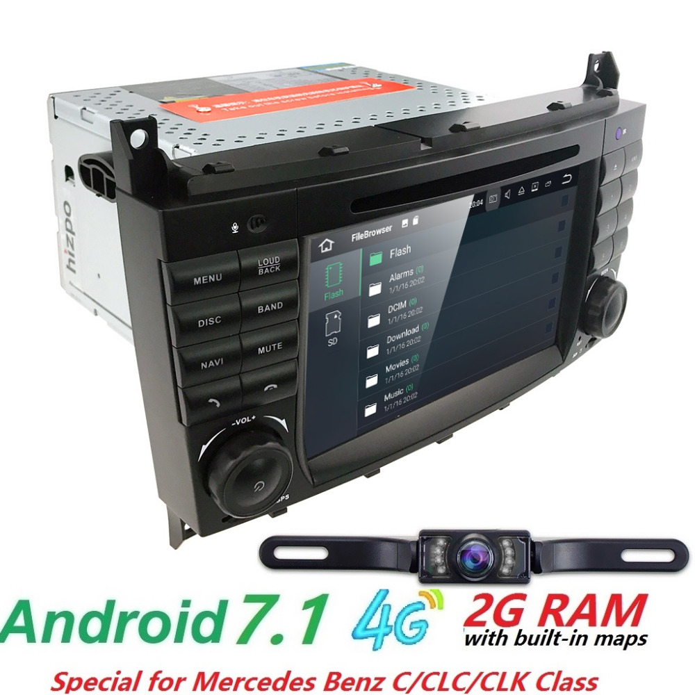 2 din AutoRadio GPS Android 7.1 Car DVD Multimedia Player For Mercedes Benz C-Classs CLC W 203 209 2004-2009 CLK C180 C200 C220