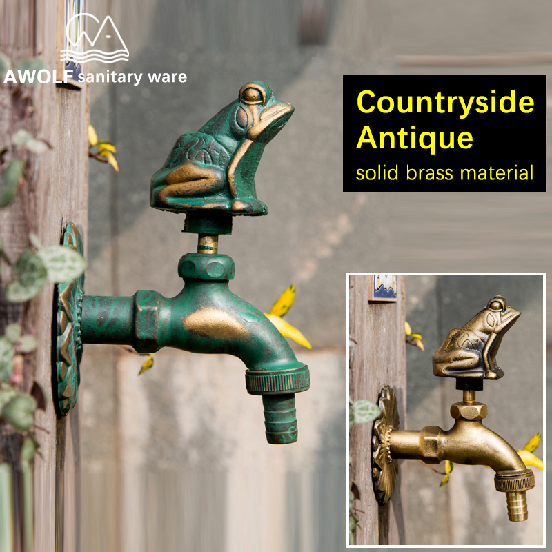 Outdoor Garden Faucet Mop Pool Faucet Art Antique Countryside Animal Shape Washing Machine Wall Mounted Cold