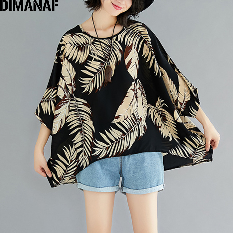 DIMANAF Women Summer   Blouse     Shirts   Plus Size Femme Loose Tops Large Clothing Vintage Black Print leaves Batwing Chiffon Tee 2018