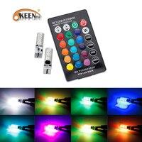 KEEN 2017 Newest 2 PCS Coluorful Car Led Light Bulb T10 6 SMD 5050 RGB LED