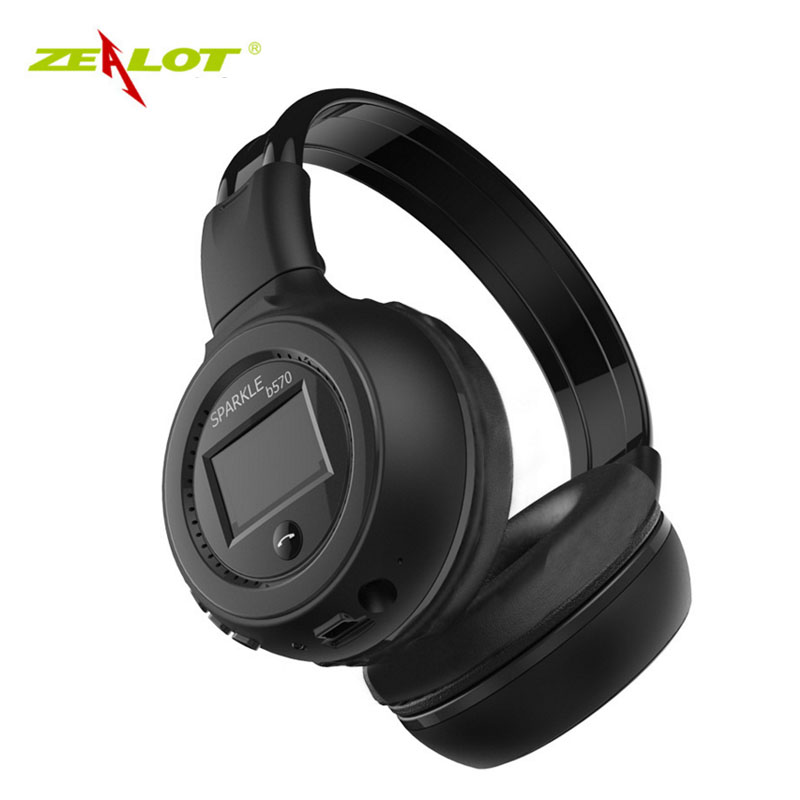 Zealot B570 LED Display Screen Wireless B headset Stereo Headset Bluetooth V4.0 Headphones eadpods with FM Radio TF Card Slot zealot b570 headset lcd foldable on ear wireless stereo bluetooth v4 0 headphones with fm radio tf card mp3 for smart phone