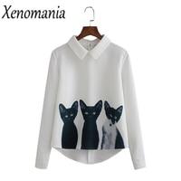 Camisa Feminina Witte Blouse Shirt Vrouwen Tops En Blouses 2018 lange Mouw Blouse Cat Print Top Blusas Koreaanse Body Boho Vintage