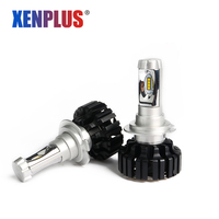 Xenplus 2Pcs H4 H7 LED Car Bulbs 12V Automobiles Headlight ZES Chip 8000LM 6500K Super Bright