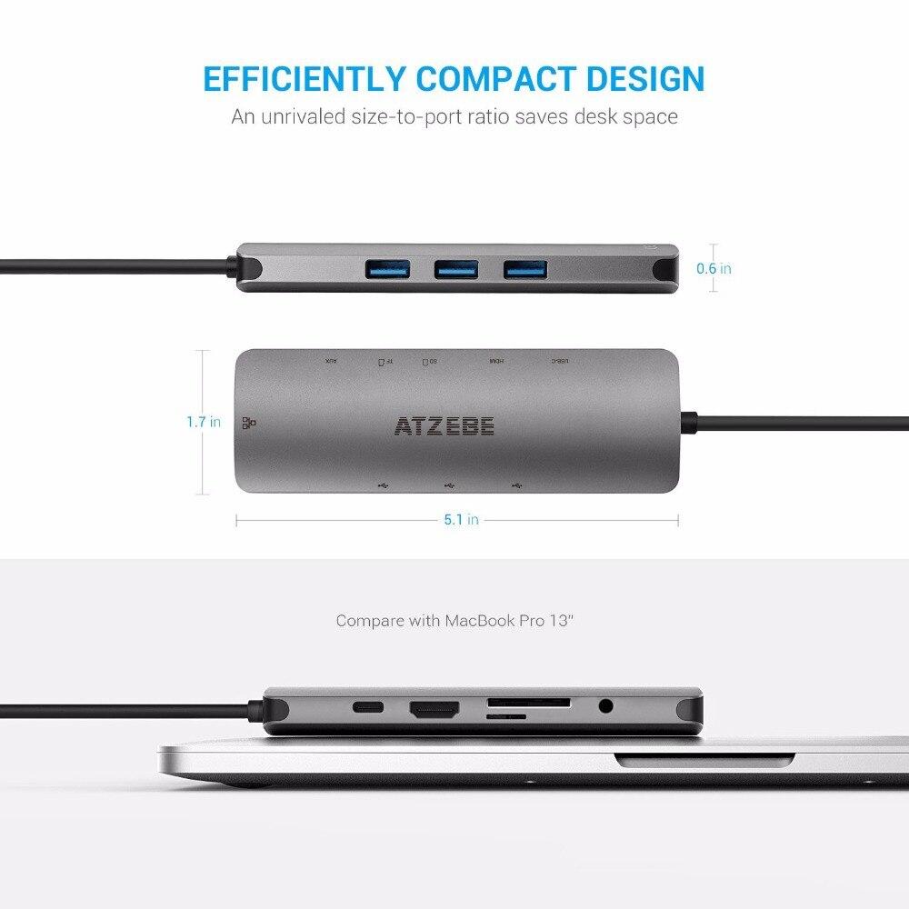 USB Hub USB Type c HUB TO USB 3 0 HDMI RJ45 3 5mm Audio Adapter for MacBook Pro Samsung Galaxy S9 Huawei P20 Pro USB C HUB in USB Hubs from Computer Office