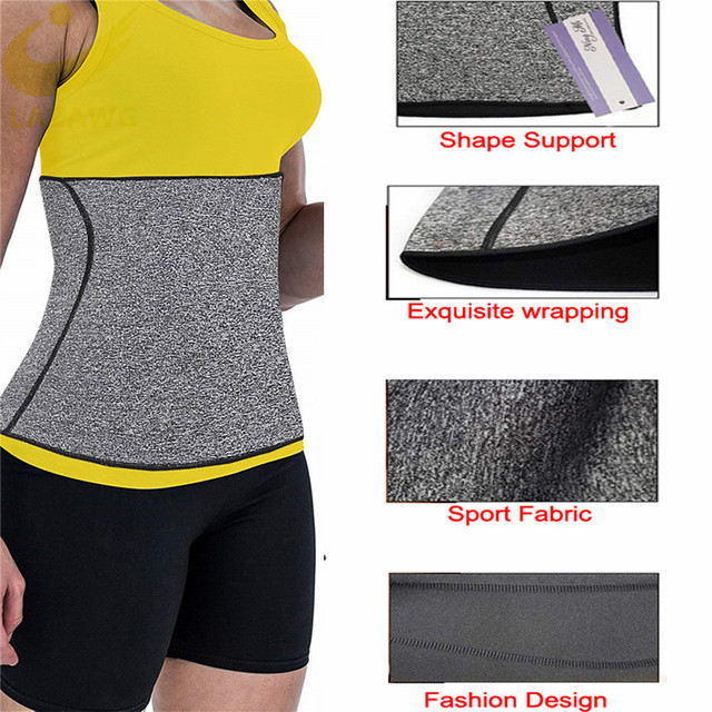 LAZAWG Women Waist Cincher Tummy Control Belt Hot Neoprene Sweat Girdle Waist Trimmer Slimming Body Shaper Modeling Strap Faja 2