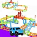 Bricolaje eléctrico de ferrocarril coche niños tren de juguete modelo de bebé de carreras de pista de transporte por carretera de ranura conjuntos
