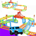 DIY Electric Racing Rail Car Kids Train Track Model Toy Baby Railway Track Racing Road Transportation Building Slot Sets