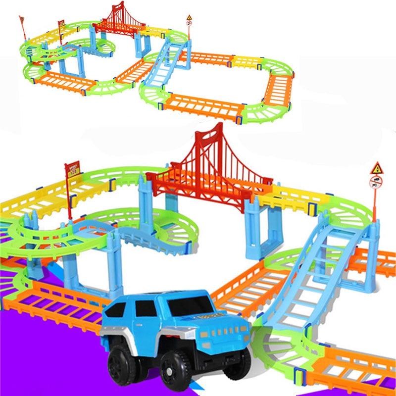 DIY Elektrische Racing Schiene Auto Kinder Zug Track Modell Spielzeug Baby Eisenbahn Track Racing Road Transport Gebäude Slot Sets