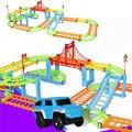 Diy modelo de carro via férrea elétrica definir presente para as crianças