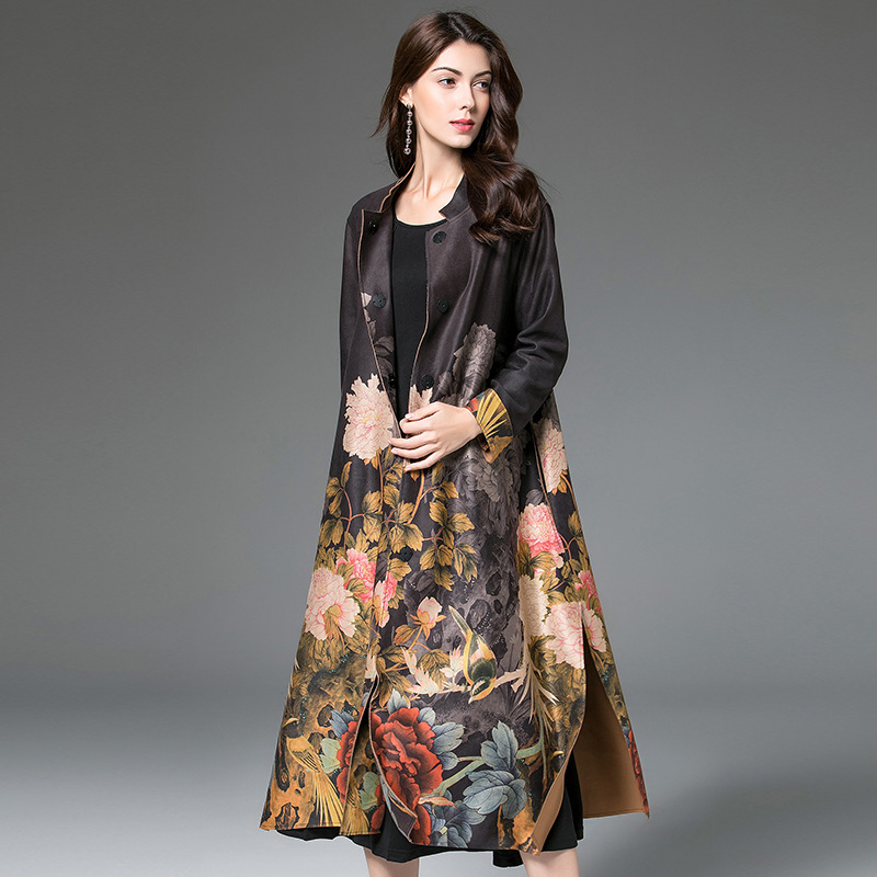 Autumn Winter Women Trench Coat Vintage Suede Long Women Coat Flower Print Belt Female Outerwear Coat