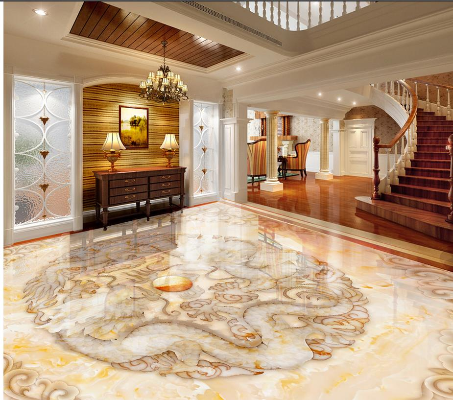 3d wallpaper floor for living room marble pvc waterproof for Living room 3d tiles