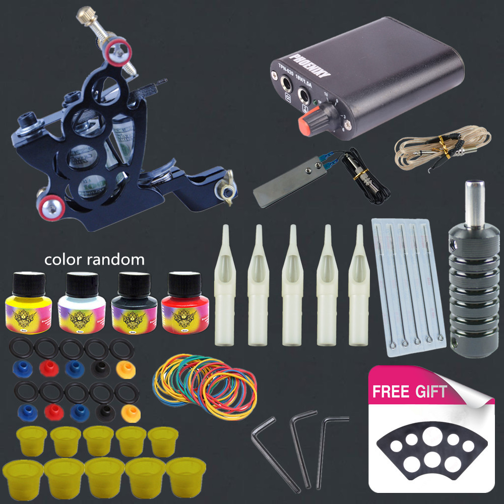 Completed Tattoo Machine Kit 10 Coils Guns Set 4 Colors Ink Black Pigment Sets Power Tattoo
