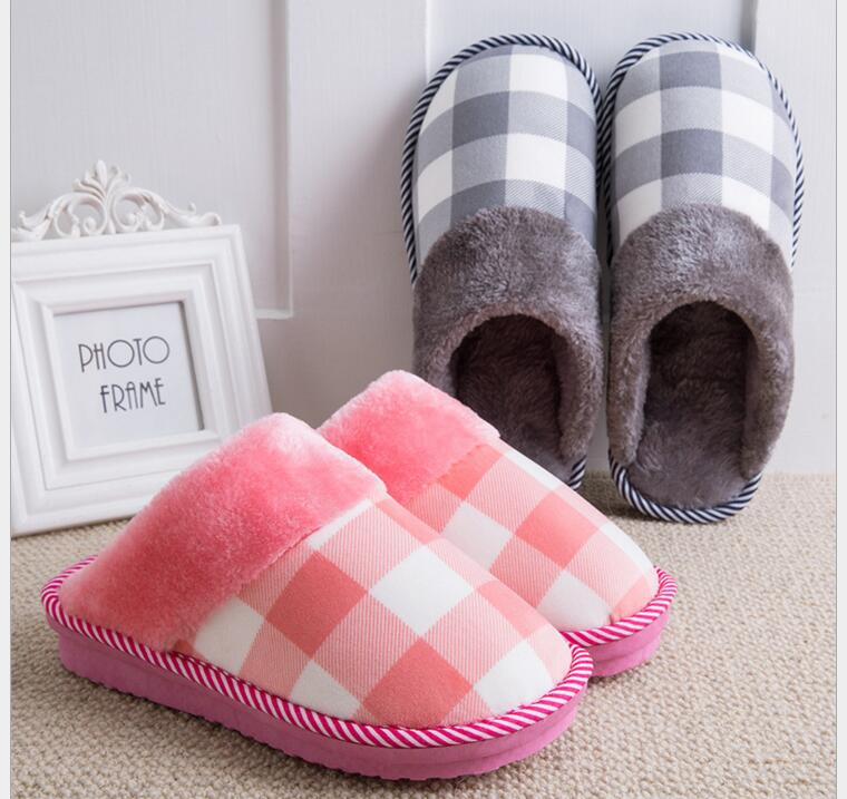 Women Winter Home Slippers Lattice Home Shoes Non-slip Soft Winter Warm Slippers Indoor Bedroom Loves Couple Floor Shoes home slippers soft plush cotton cute slippers shoes non slip floor indoor house home fur slippers women shoes for bedroom