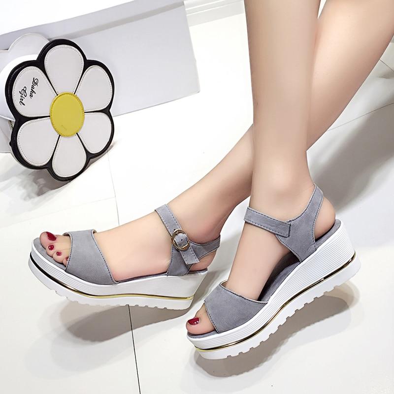 6d50c156ce2 Peep Toe women open toe shoes 6cm high heels Female Ankle strap Footwear  platform lady wedges woman Suede Sandals gray purple