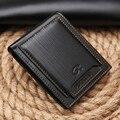 Manera de los hombres corto billetera paquete de la tarjeta en relieve retro monederos money clips