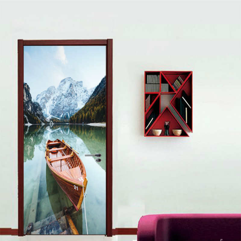 3D Door Stickers Cherry Tree Lake Boat Beach Umbrellas City Autumn Leaves Desert Elk Snow Mountain Cliff Home Decoration Paste in Door Stickers from Home Garden