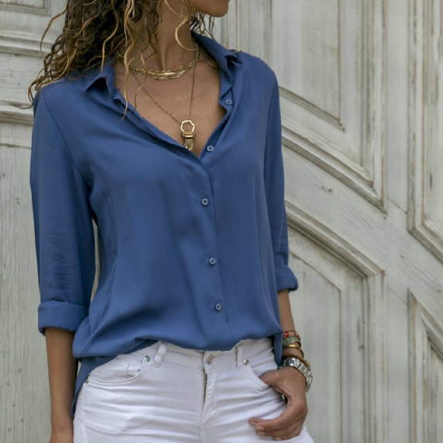 8XL Oversize Women Tops Blouses Autumn Elegant Long Sleeve Solid V-Neck Chiffon Blouse Work Shirts Office Plus Size 7XL Blusas 3