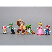 6pcs/set Anime Super Mario Bros Toad Daisy Yoshi mario 6pcs/set PVC action figure model Collectible toys or Christmas gift