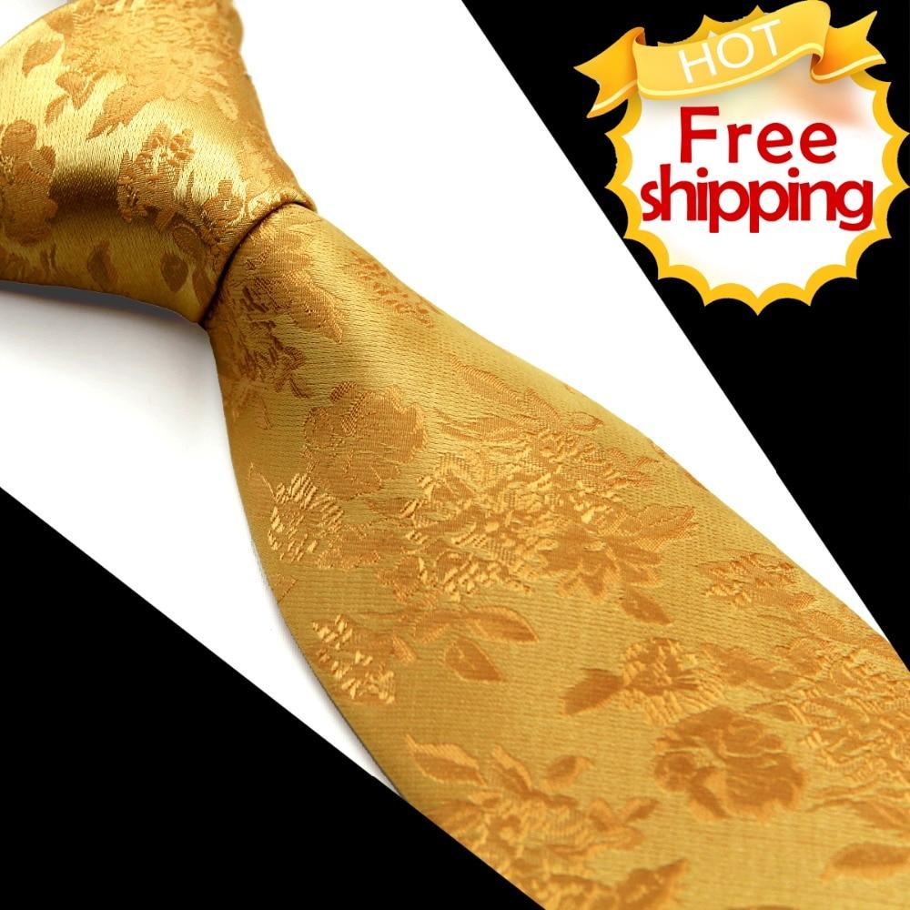 Módní květinové pevné žluté zlato pánské kravaty kravaty kapesníky 100% hedvábné žakárové tkané ležérní párty svatební doprava zdarma