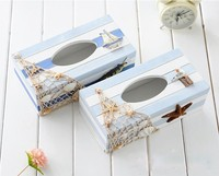 Mediterranean home decorations creative tissue box tray pumping napkin box wood storage box