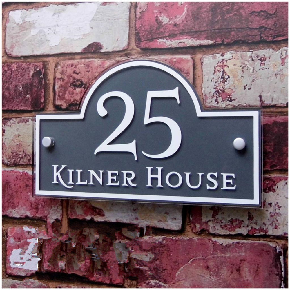 Customized/Personalized Modern Clear Acrylic House Signs Door Plates Plaques with Colorful Films Door Number and St. Name Sign customized transparent acrylic house number plaques sign plates door number street name plates house signs with frosted films