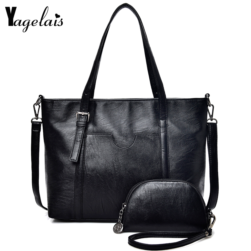 High Quality Leather Women Handbags Luxury Solid Color 2 Sets Ladies Composite Bag Fashion Clutch Bags For Women Shoulder Bags 2016 new women leather handbags fashion shoulder bag high quali women s messenger bags ladies crossbody bag clutch wallet 2 sets