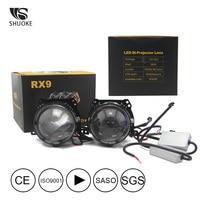 bulb 12v SHUOKE Bi-LED Projector Lens Bi LED Light Bulb Lens Reflector Collimator 12V 36W 6000LM 6000K 2.5 Inch 1 set High Low Beam (2)
