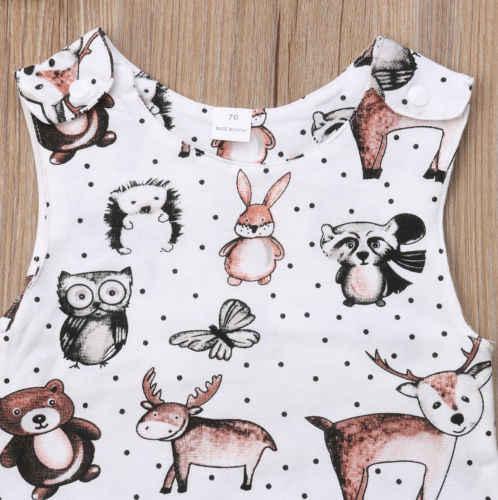 Autumn Cute Baby Kids Boy Girl Infant Sleeveless Cartoon Animal Print Romper New