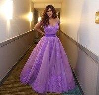 2015 Вдохновленный Najwa karam платья знаменитостей Саудовская Аравия Дубай аппликации Фиолетовый Вечерние Выпускные вечерние платья