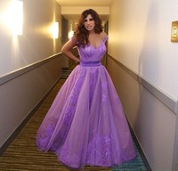 2015 Inspired by Najwa Karam Celebrity Dresses Saudi Arabia Dubai Appliques Purple Violet Evening Prom Formal Gowns Vestidos
