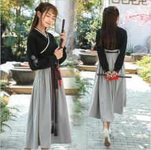 Vintage Chinese Style Classical Sweet Lolita Hanfu Tops+Skirt Dress Mori Girl Embroider Retro Asian Style Hanfu Long Dress