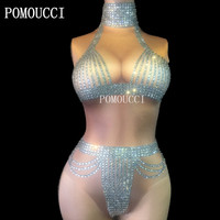 Women New Sexy Bodysuit Sparkling Crystals Jumpsuit Sexy Jumpsuit Evening Party Stretch Costume Stage Wear Rhinestone Celebrate