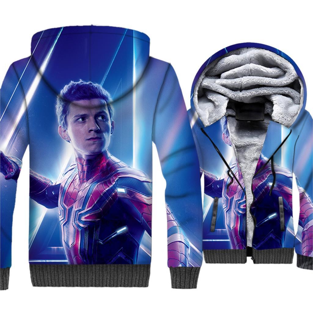 man 3D printing thick sweatshirts casual wool liner jackets hipster Spiderman Super hero brand clothes 2019 men harajuku hoodies