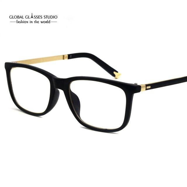 Rectangle Lens Plastic Eyeglasses Shiny Gold Tip Optical Frames ...