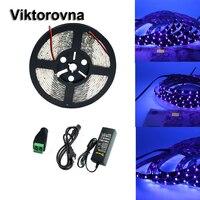 12V UV 395 405nm led strip black light 5050 3528 SMD Ultraviolet Waterproof tape lamp + power supply for DJ Fluorescence party
