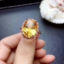 shilovem 925 sterling silver Piezoelectric Fireworks citrine Rings fine Jewelry trendy wedding open new  gift lpj080813agj