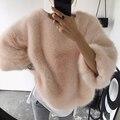 [Chicever] 2017 mola solta manter mais quente de veludo espessamento capuz de pele mulheres selvagens camisola new fashion clothing