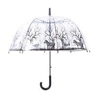 LIBERAINY Beautiful transparent umbrella, long handled umbrella in Japan, Korean girl in black and white, fresh and simple, Prin