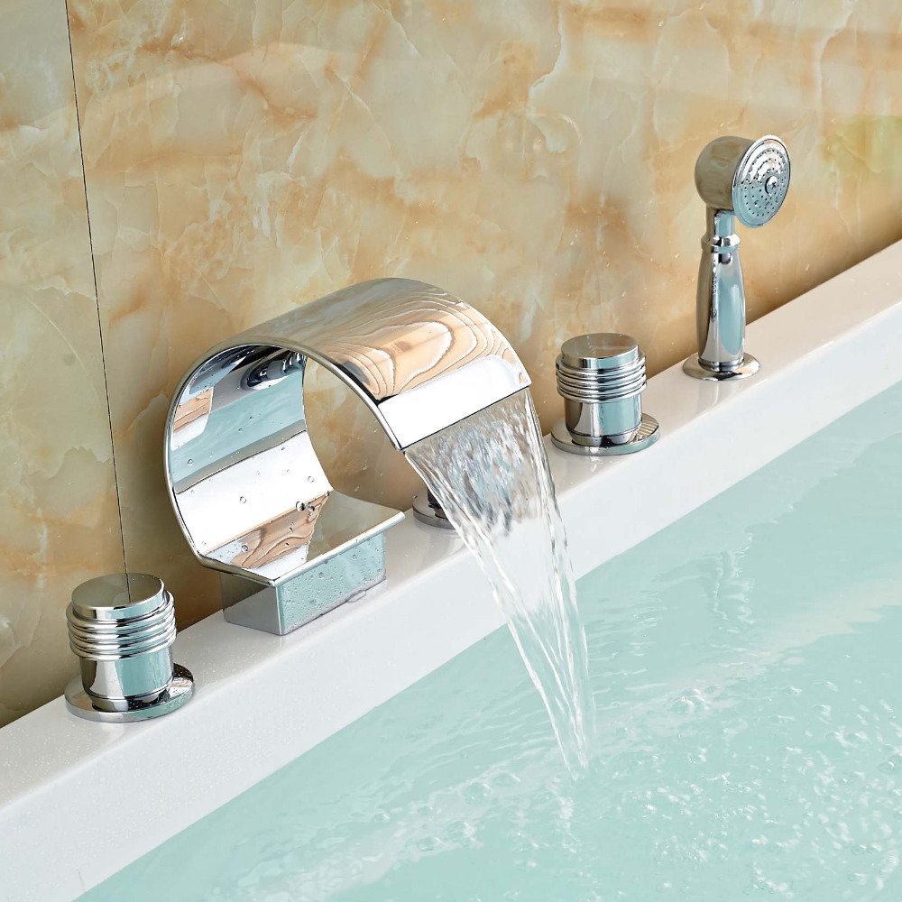 Polished Chrome Brass Waterfall Bathtub Faucet Deck Mount Bathroom ...