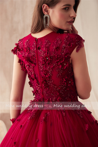 Image 5 - 2021 O neck Ball Gowns Burgundy Wedding Dress with Color 3D Flowers Applique with Rhinestones Crystals Bridal Gowns Reals