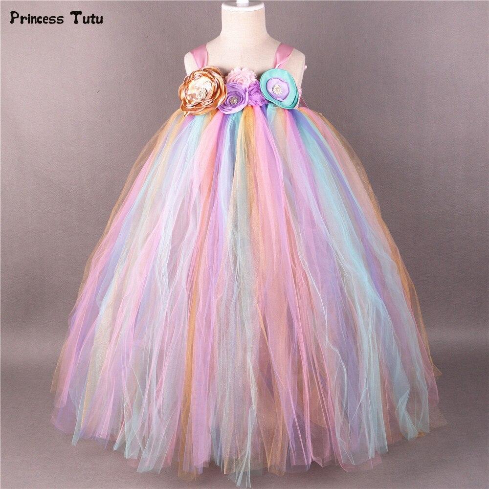 Arc-en-ciel fleur fille Tutu robe princesse enfants filles Tulle robes de fête Boutique enfants filles reconstitution historique robe de bal de mariage