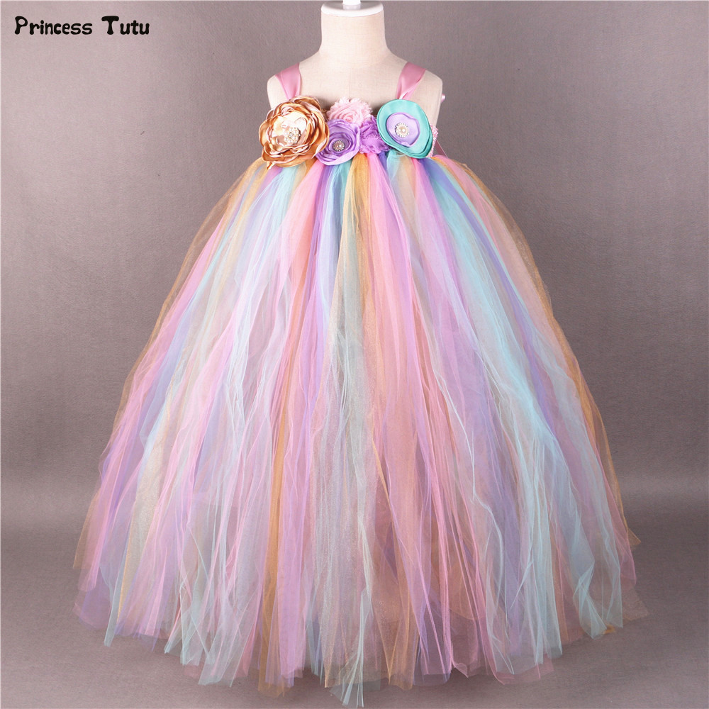 Toddler Kids Baby Princess Flower Girl Pageant Wedding Party Tulle Tutu Dresses