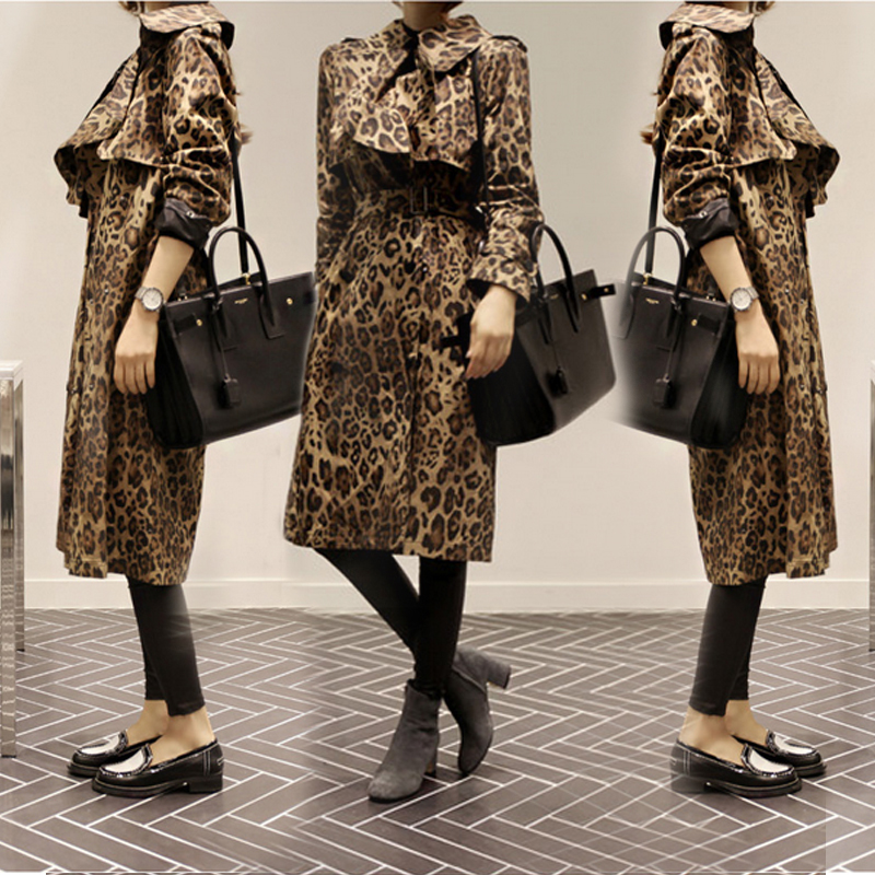 Long Trench Coat Womens Korean Style Spring Autumn Leopard Print Coat 2018 Ladies Fashion Windbreaker Girls Student Streetwear in Trench from Women 39 s Clothing