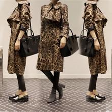 Long Trench Coat Womens Korean Style Spring Autumn Leopard Print 2018 Ladies Fashion Windbreaker Girls Student Streetwear
